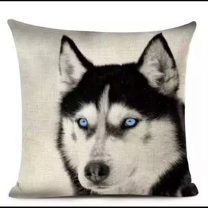 Handcrafted pillow. Beautiful wolf design.